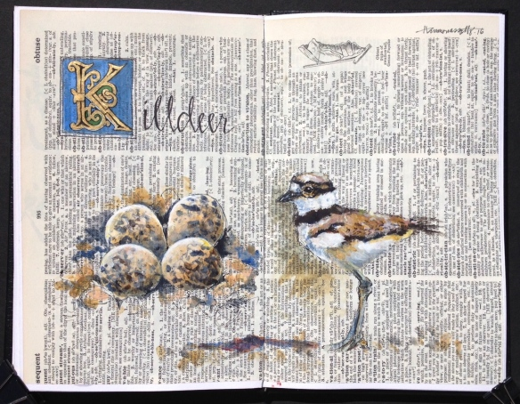 Click to view larger. Acrylic and ink in Stillman & Birn beta sketchbook collaged with old book paper.