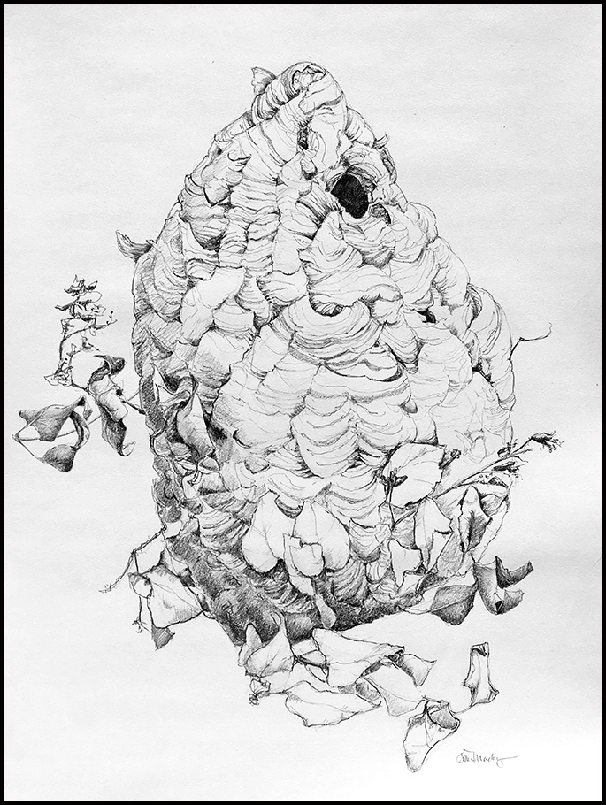 """""""The Centerpiece,"""" graphite on Strathmore 400 series drawing paper, 18""""x24""""(actual nest size 20""""x 10""""). Click to view larger."""