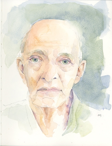 I switched gears in a major way—working from a photo, I wanted to see if I could manage a more detailed portrait in watercolor. The subtleties of skin tones were well worth doing. (I think this should count as more than one.)