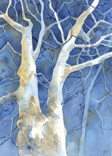 Winter Blues, watercolor